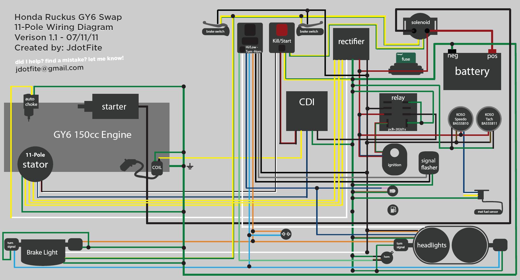 150 Gy6 Scooter Wiring Diagram | Manual E-Books - Honda Ruckus Wiring Diagram