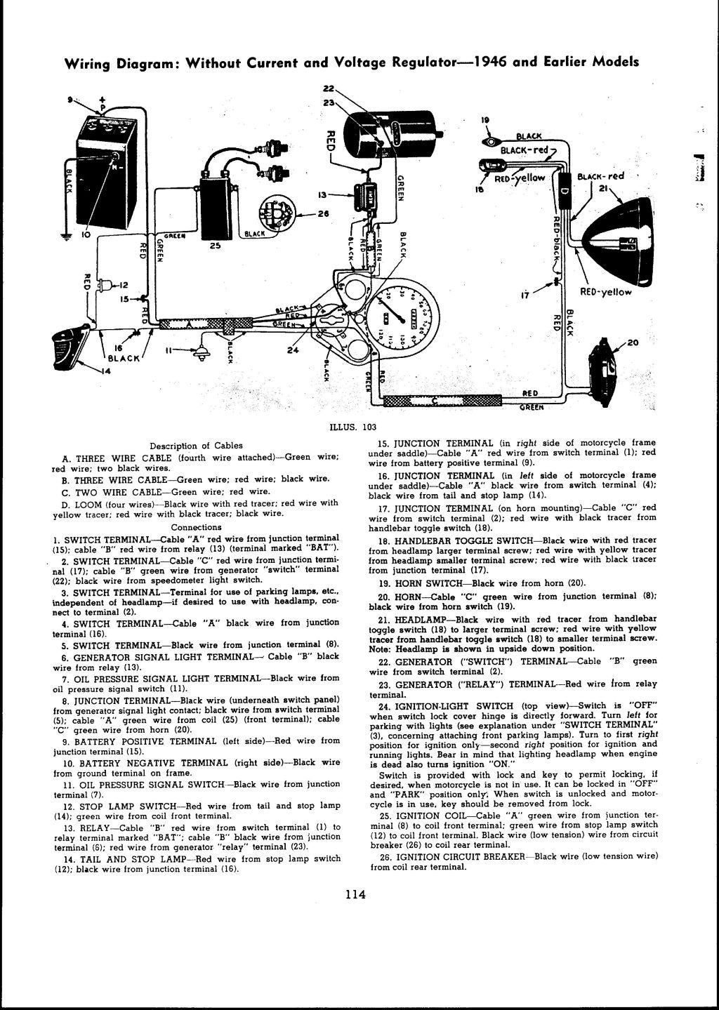 1946 And Earlier Models Wiring Diagram: With Current And Voltage - Voltage Regulator Wiring Diagram