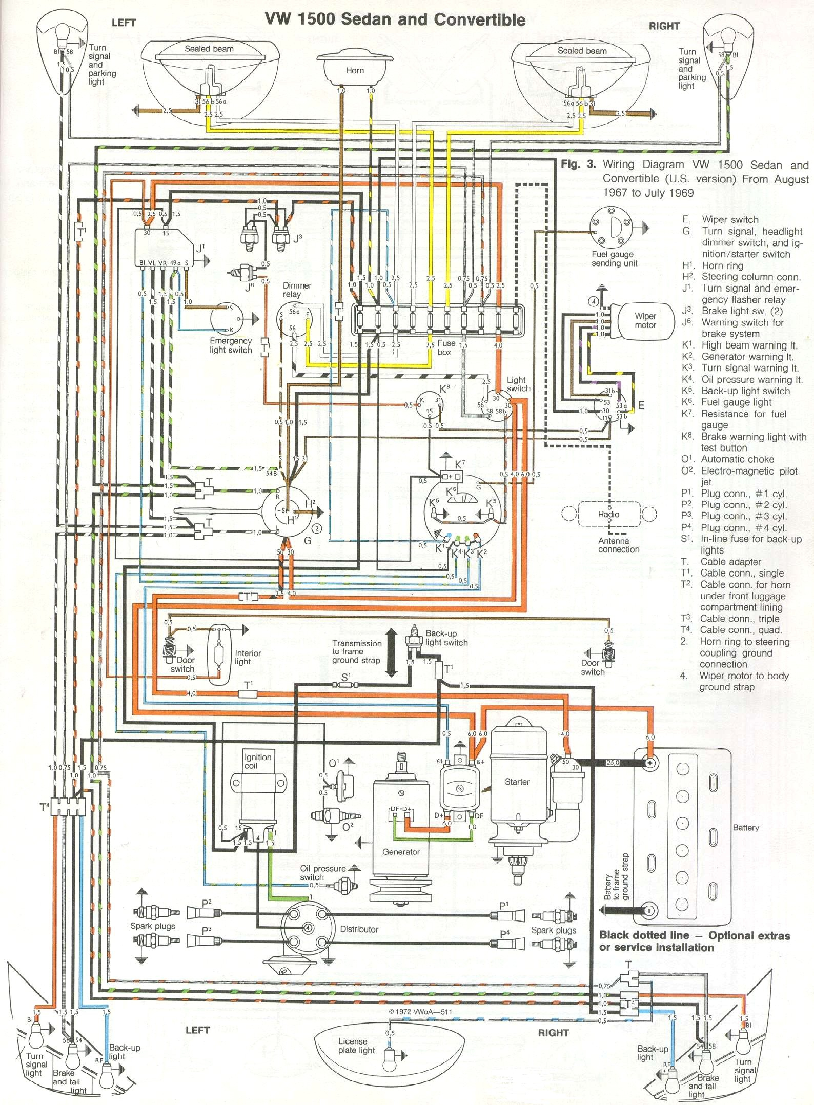 1969-71 Beetle Wiring Diagram | Thegoldenbug - Vw Wiring Diagram