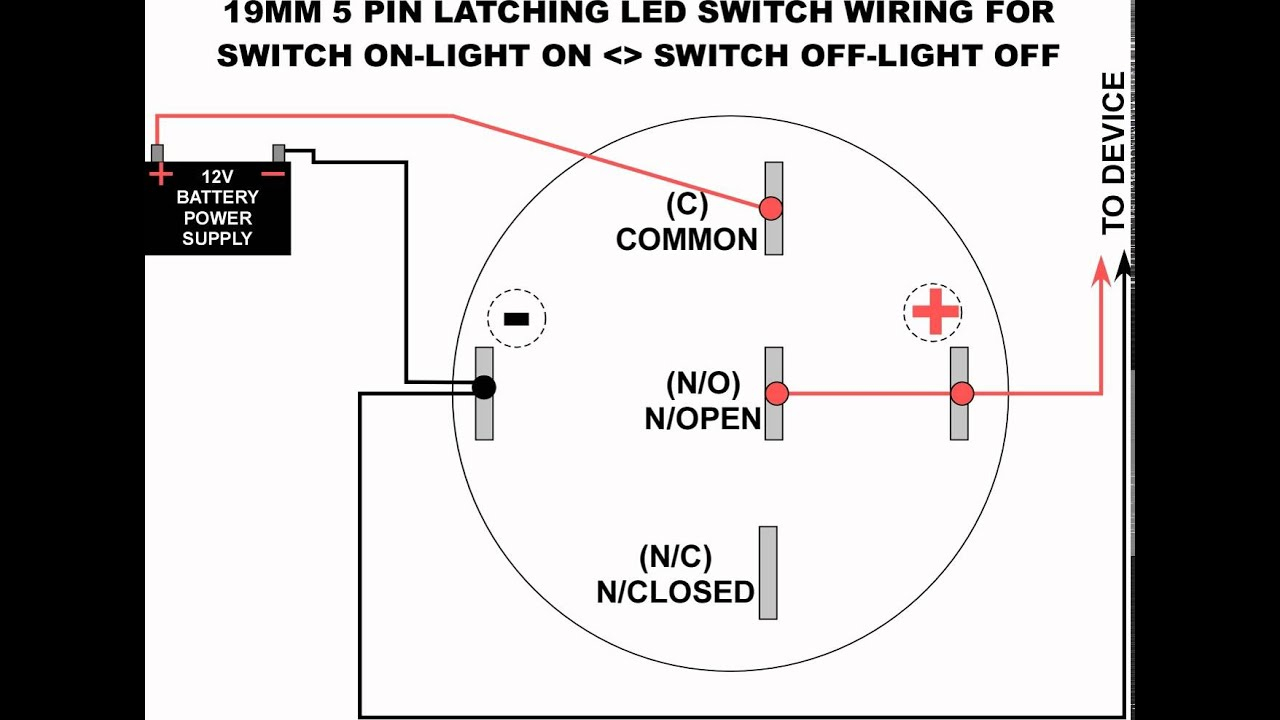 19Mm Led Latching Switch Wiring Diagram - Youtube - Switch Wiring Diagram