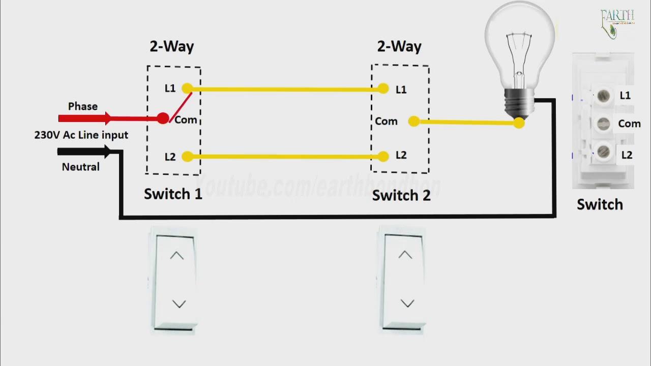 2 Way Light Switch Diagram In Engilsh |2 Way Light Switch Wiring In - 2 Way Light Switch Wiring Diagram