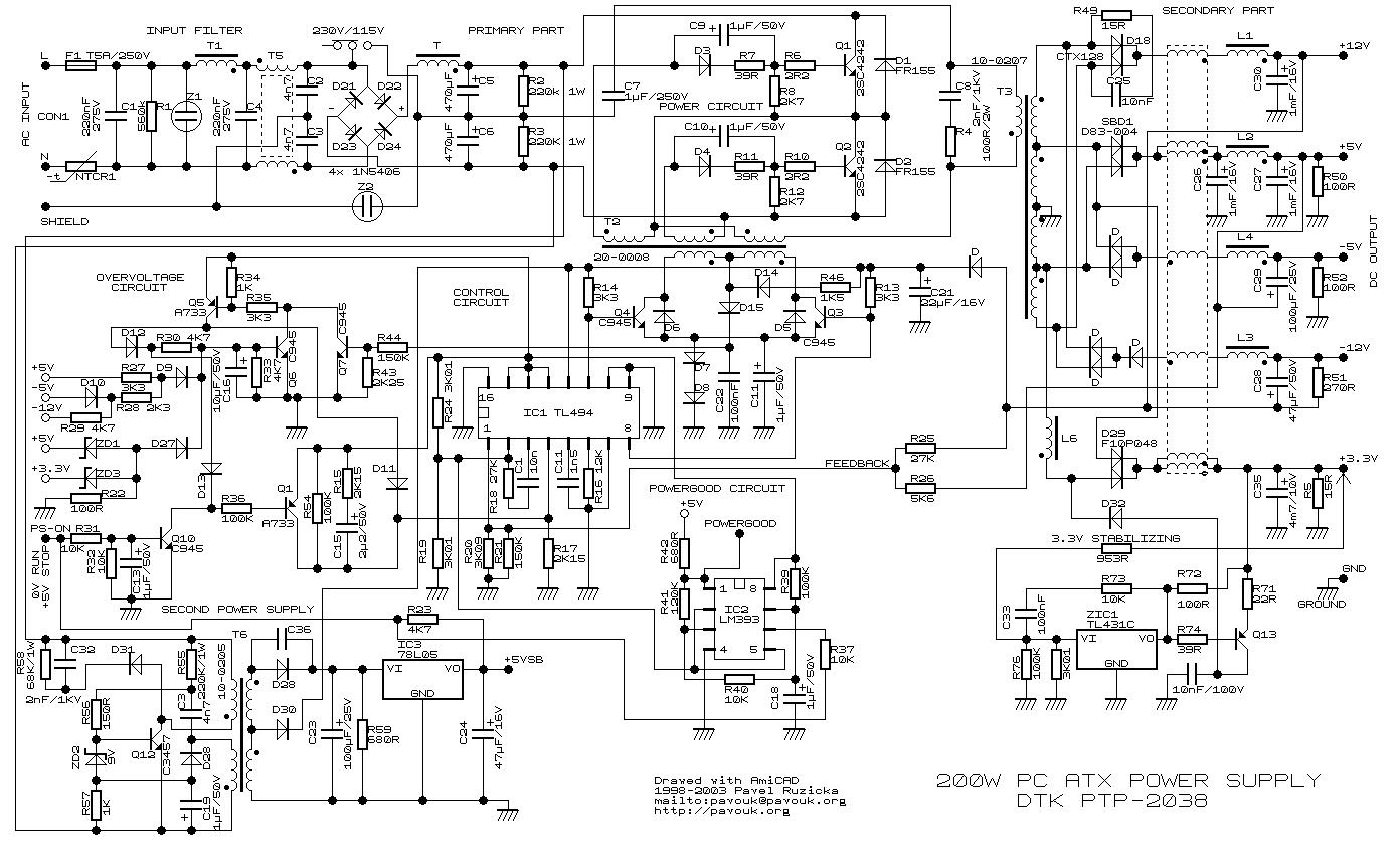 200W Atx Pc Power Supply - Computer Power Supply Wiring Diagram