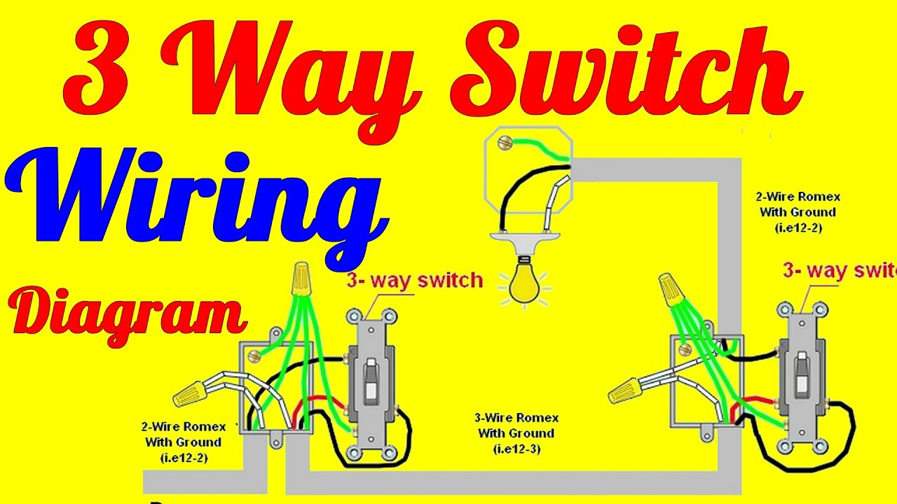 3 Way Switch Wiring Diagrams How To Install - Youtube - Three Way Switch Wiring Diagram