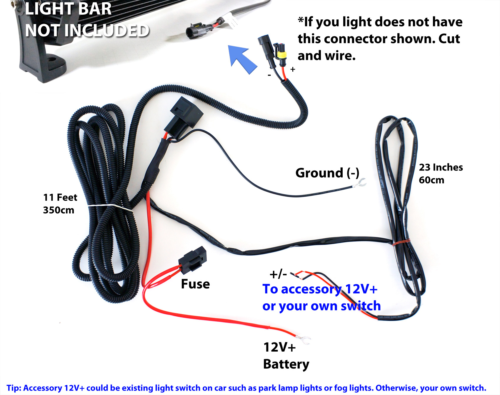 40A Fog Work Led Light Bar Wiring Harness Relay Fuse Kit + Rocker - Fog Light Wiring Diagram Without Relay