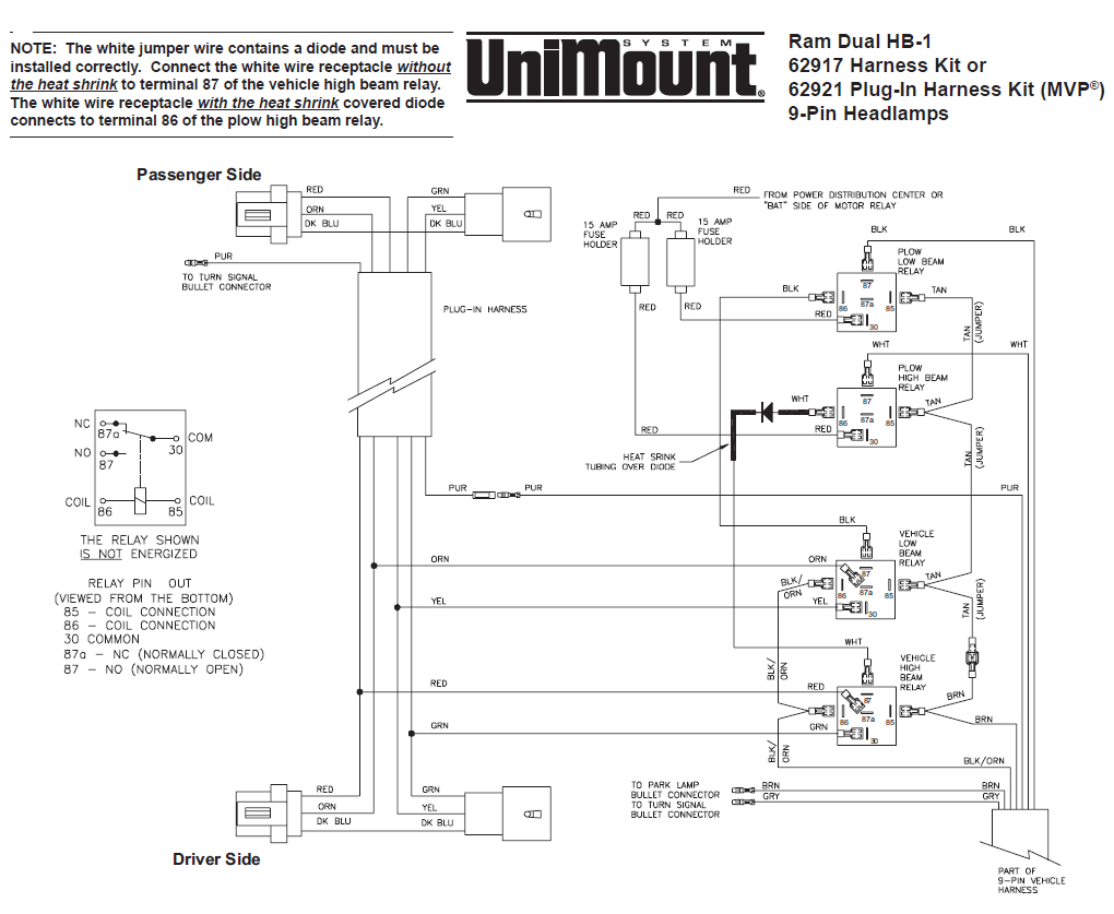 62917 Western Unimount Hb-1 Headlight Harness Kit Dodge Ram 99+ - Boss Plow Wiring Diagram