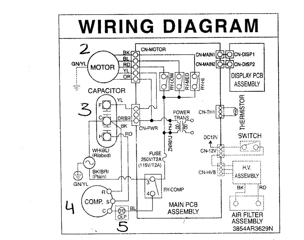 Ac Wire Diagram   Wiring Diagram - Ac Capacitor Wiring ...