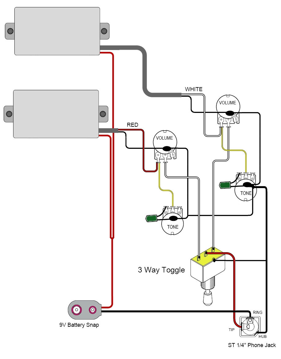 Active Pickup Wiring - Wiring Diagrams Hubs - Humbucker Wiring Diagram