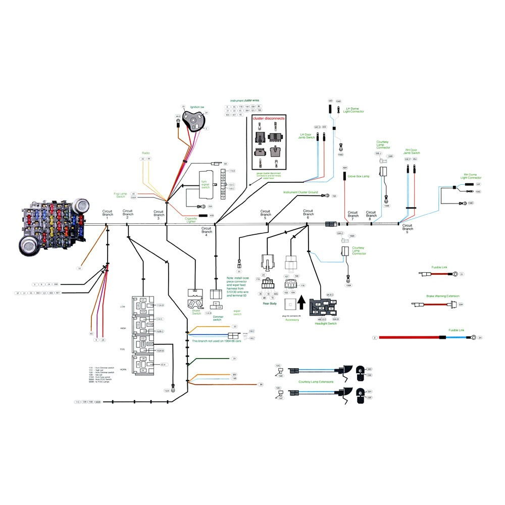 American Autowire 510125 Mustang Complete Wiring Harness Classic - Ford Ignition Switch Wiring Diagram