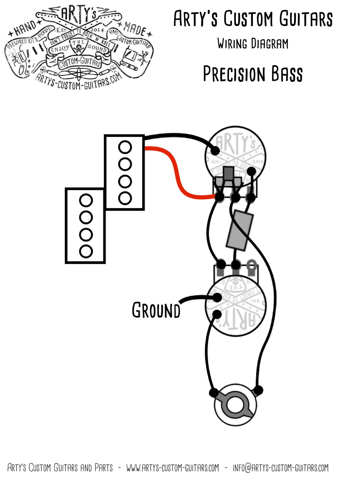 Arty's Custom Guitars Vintage Wiring Prewired Kit Wiring Diagram - P Bass Wiring Diagram