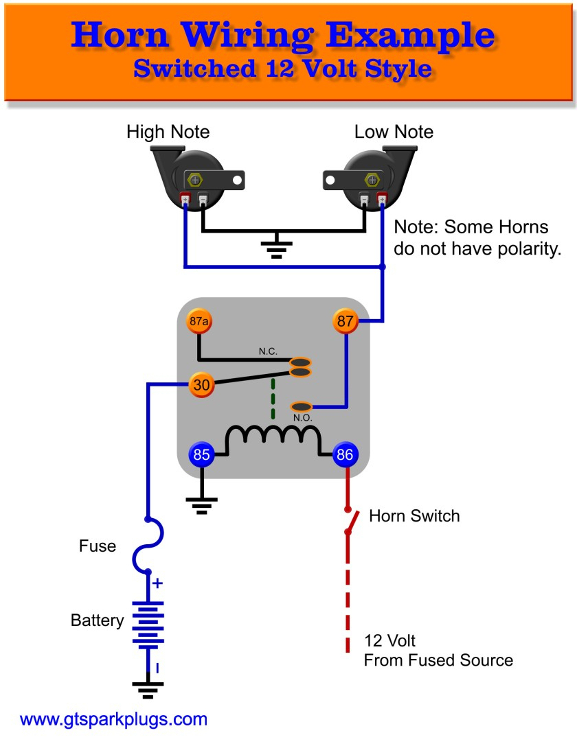 Automotive Relay Wiring Diagram Horn | Manual E-Books - Car Horn Wiring Diagram