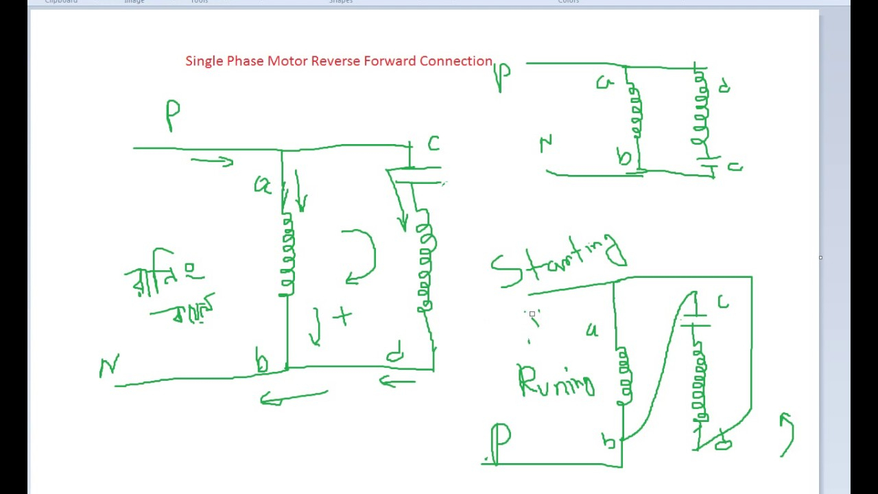 Basic Connection Of Single Phase Motor Reverse And Forward - Youtube - Reversing Single Phase Motor Wiring Diagram