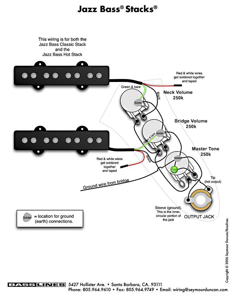 Bass Pickup Wiring - Jazz Bass Stacks |Basslines, Usa | Guitar - Jazz Bass Wiring Diagram