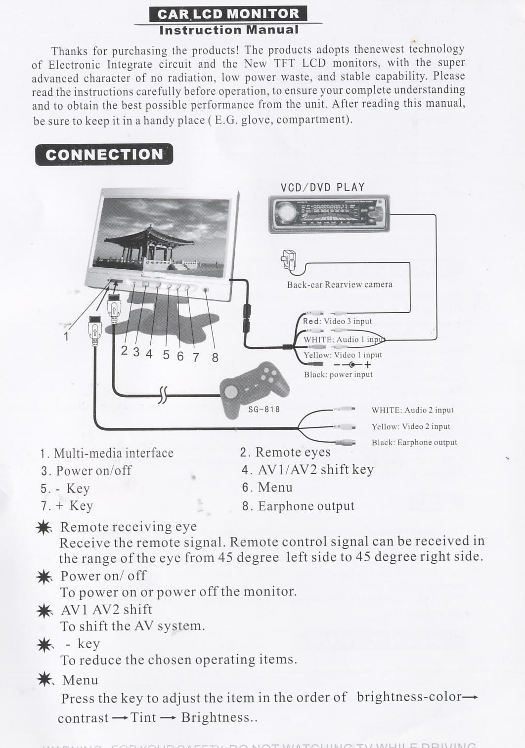 Brash Imports - Tft Lcd Monitor Reversing Camera Wiring Diagram