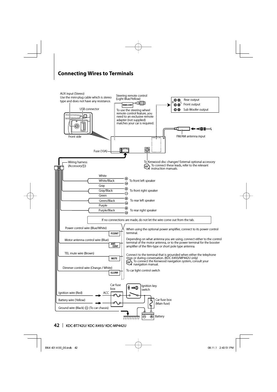 Connecting Wires To Terminals | Kenwood Kdc-Bt742U User Manual - Kenwood Kdc Wiring Diagram