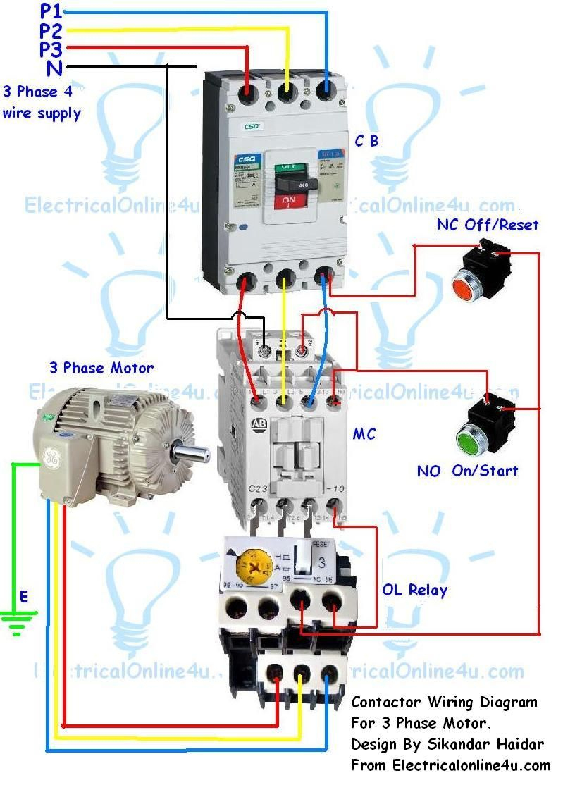 Contactor Wiring Guide For 3 Phase Motor With Circuit Breaker - 3 Phase Motors Wiring Diagram