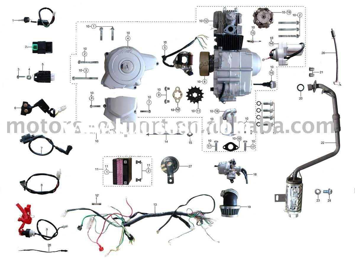 Coolster 110Cc Atv Parts Furthermore 110Cc Pit Bike Engine Diagram - Briggs And Stratton 18 Hp Twin Wiring Diagram