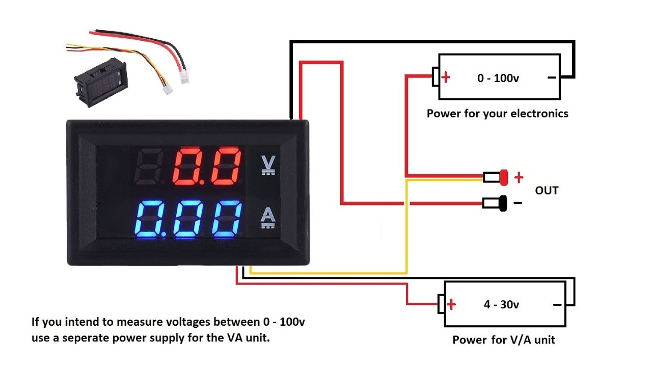 Dc 100V 10A Voltmeter Ammeter Blue + Red Led Amp Dual Digital Volt - Digital Volt Amp Meter Wiring Diagram