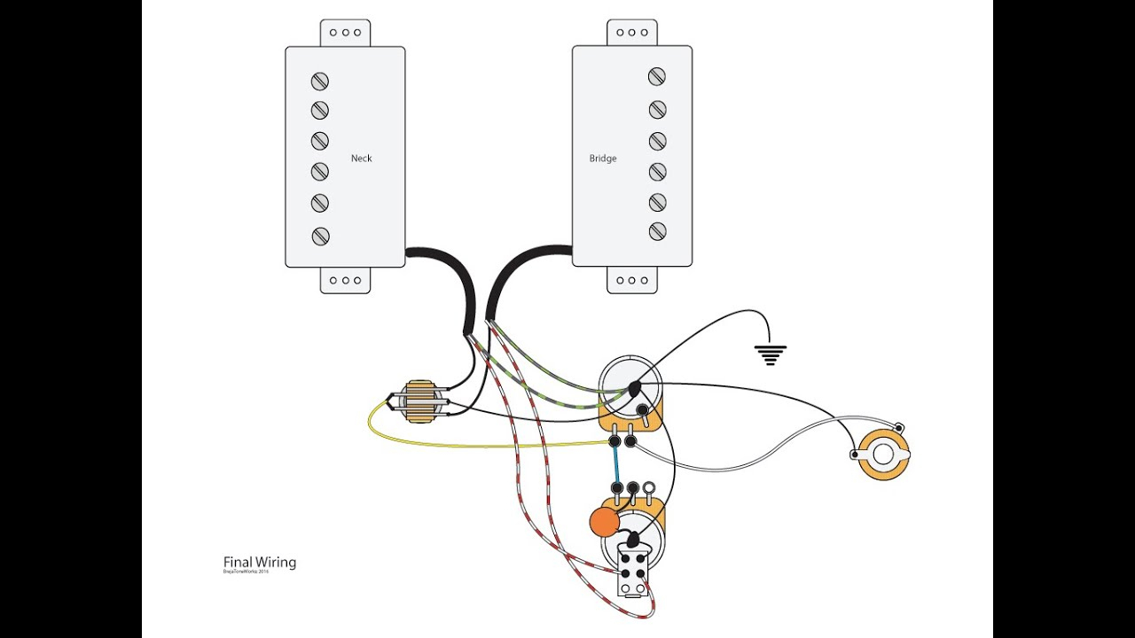 Dual Humbuckers With Master Vol/tone And Coil Splits - Youtube - Split Coil Humbucker Wiring Diagram