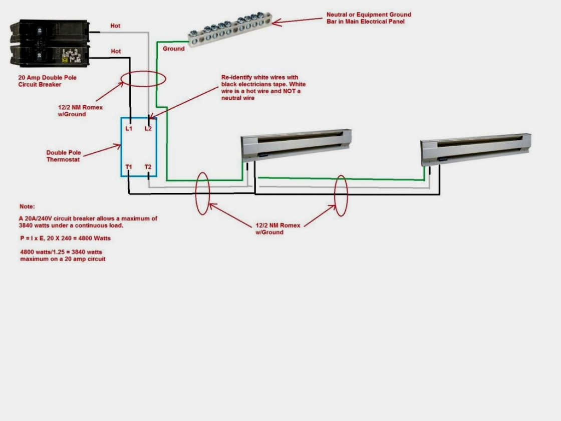 Electric Baseboard Heater Thermostat Wiring Diagram 2 | Manual E-Books - Double Pole Thermostat Wiring Diagram