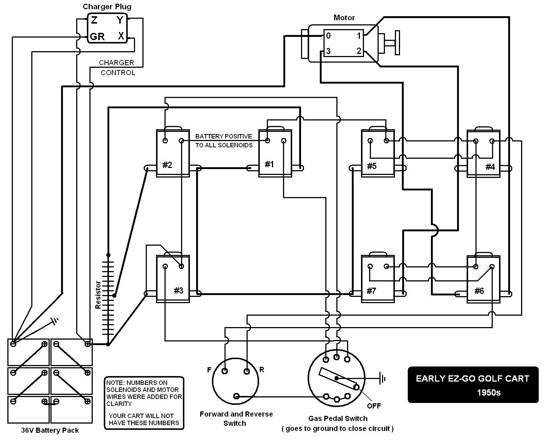 Electric Golf Cart 36 Volt Ezgo Wiring Diagram | Manual E-Books - Ez Go Golf Cart Wiring Diagram