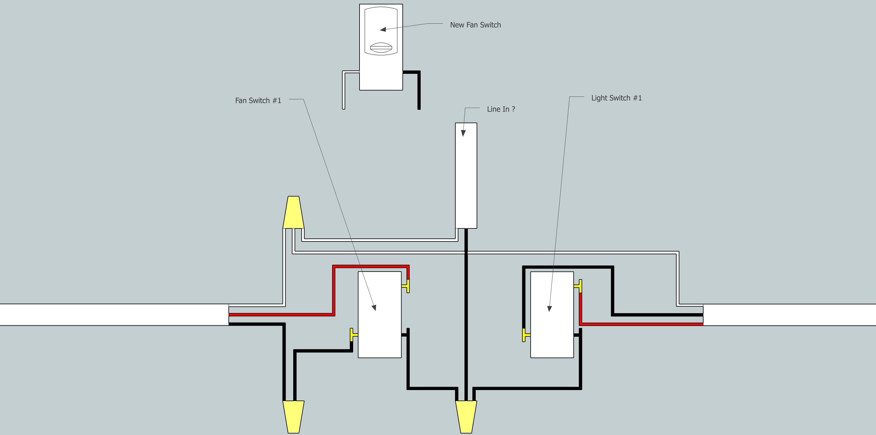 Electrical - Need Help Adding Fan To Existing 3-Way Switch Setup - 3 Way Switching Wiring Diagram
