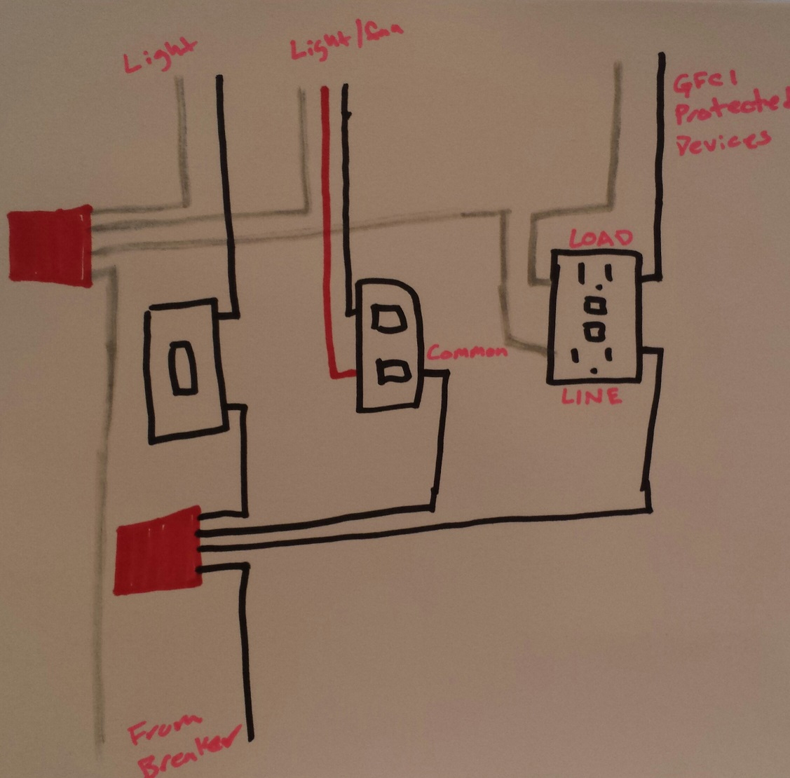 Electrical - Taking Power From Double Light Switch To Gfci Outlet - Wiring A Gfci Outlet With A Light Switch Diagram
