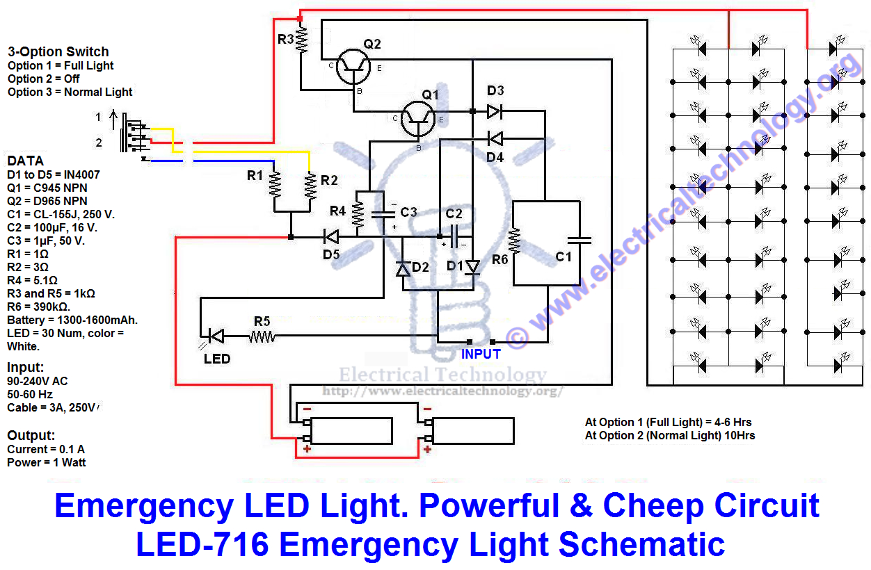 Emergency Led Lights. Powerful & Cheap Led-716 Circuit - Led Lighting Wiring Diagram