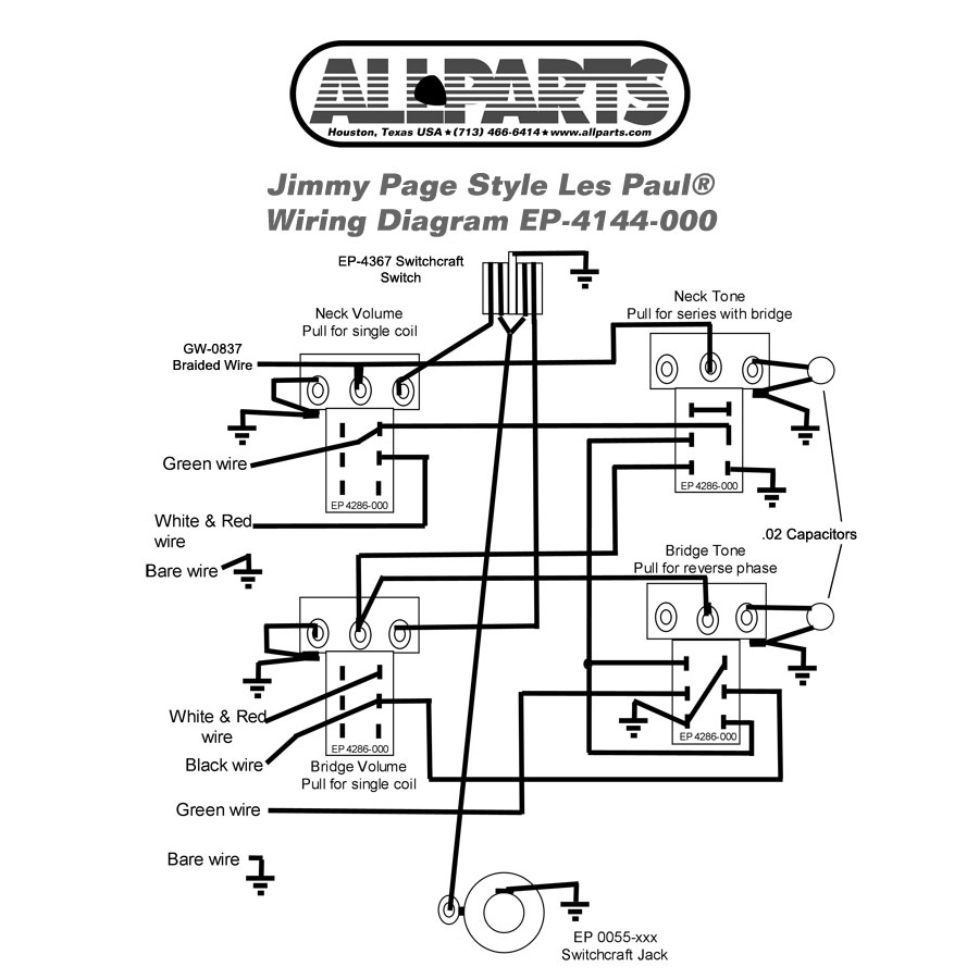 Ep-4144-000 Wiring Kit For Gibson® Jimmy Page Les Paul® Allparts - Jimmy Page Wiring Diagram