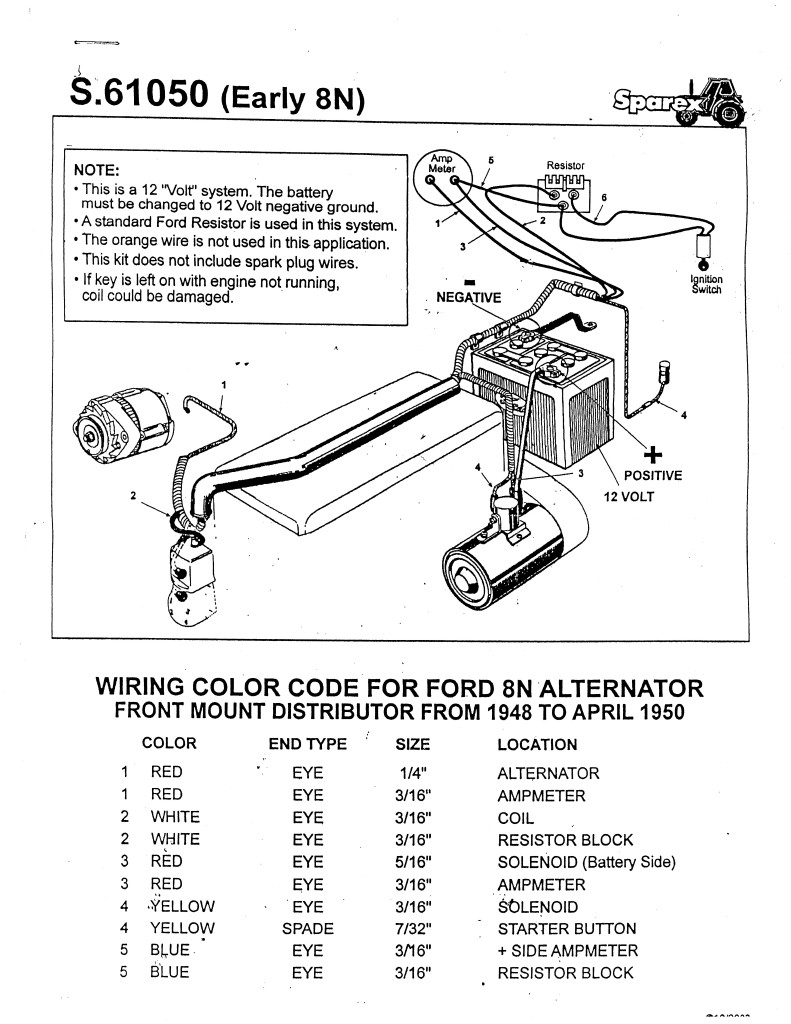 Ford Tractor 12 Volt Conversion Free Wiring Diagrams | Wiring Diagram - Ford 8N Wiring Diagram