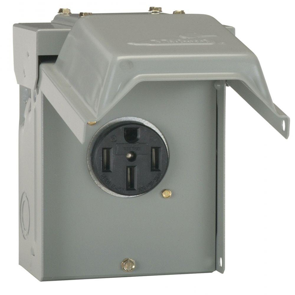 Ge 50 Amp Temporary Rv Power Outlet-U054P - The Home Depot - 50 Amp To 30 Amp Rv Adapter Wiring Diagram