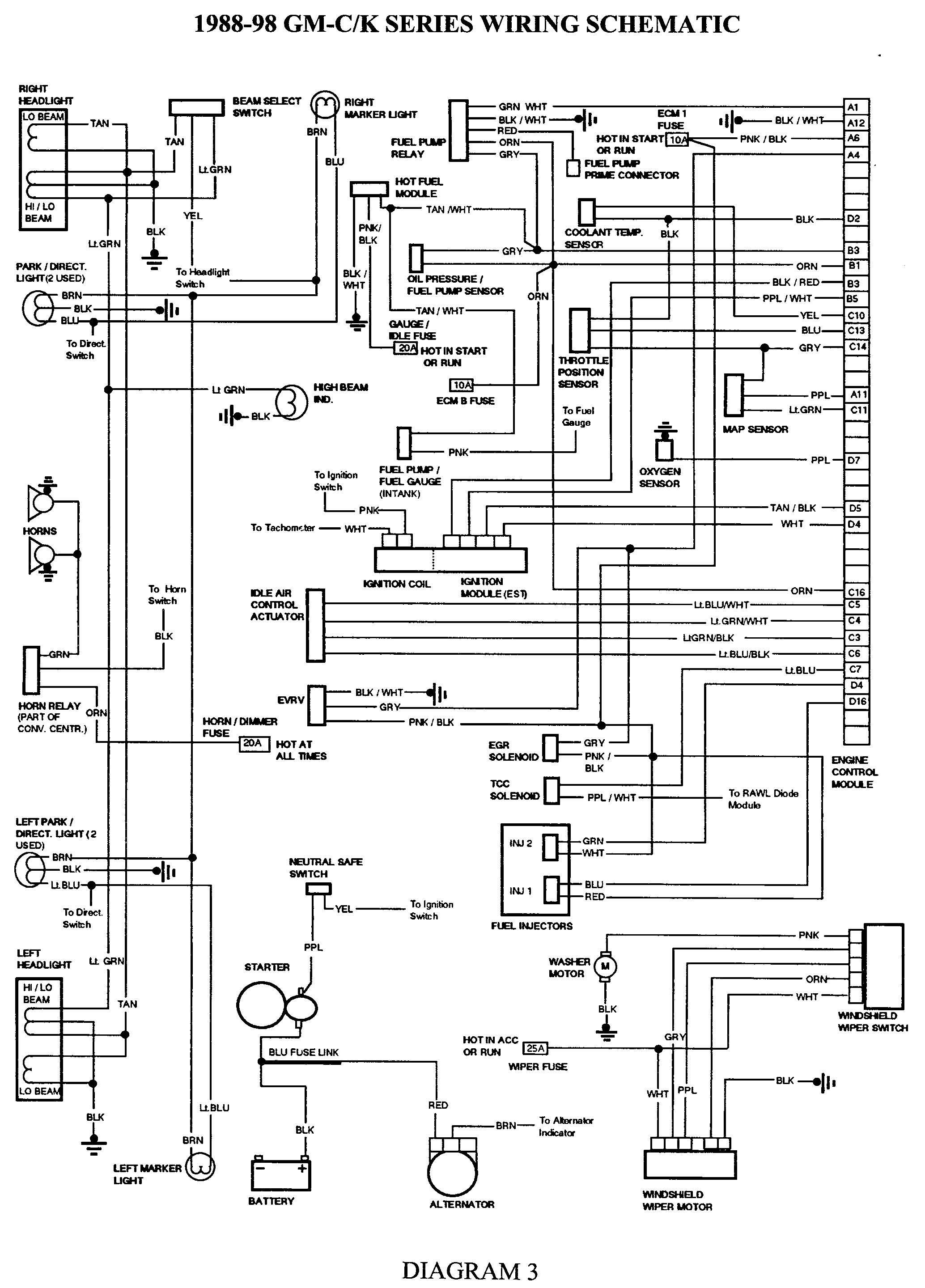 Gmc Truck Wiring Diagrams On Gm Wiring Harness Diagram 88 98 | Kc - Wiring Diagram For 1997 Chevy Silverado