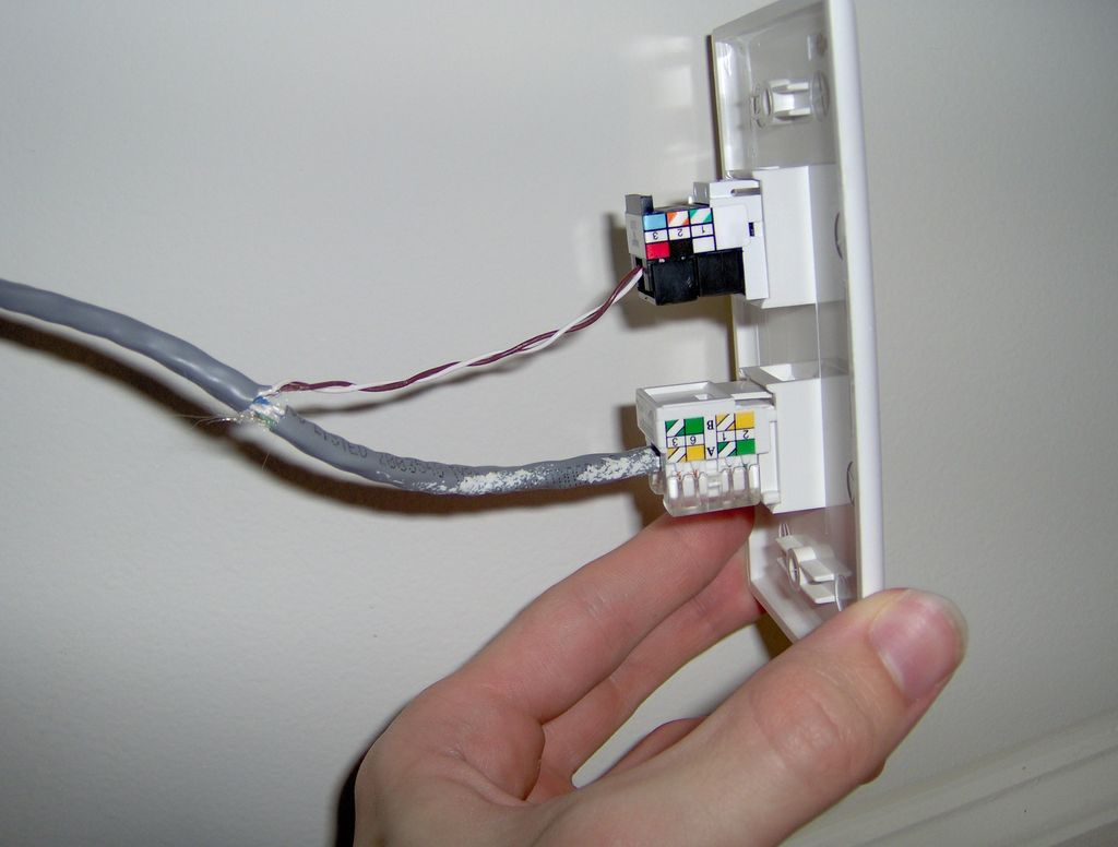 Hack Your House: Run Both Ethernet And Phone Over Existing Cat-5 - Cat 5 Wiring Diagram Wall Jack
