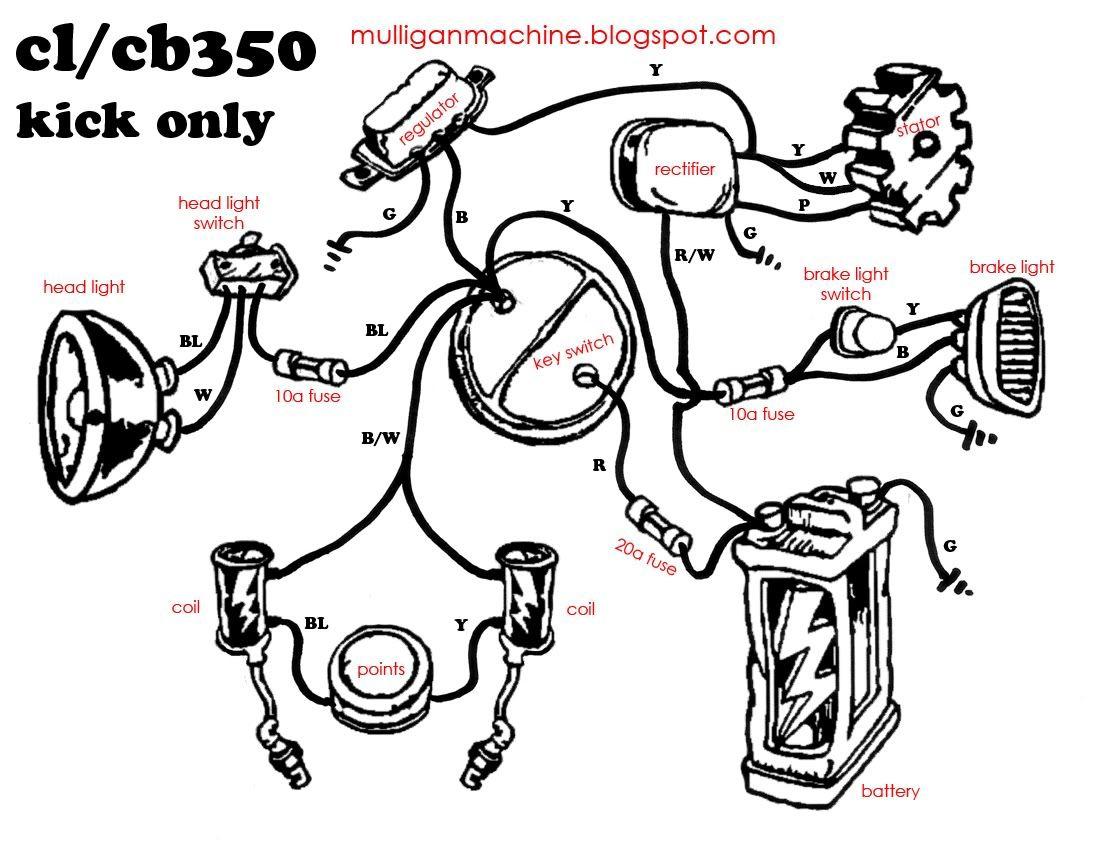Honda Cb350 Simple Wiring Diagram - Google Search | Useful - Simple Motorcycle Wiring Diagram