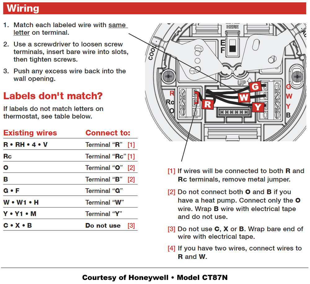 Honeywell Thermostat Wiring Instructions   Diy House Help - 5 Wire Thermostat Wiring Diagram