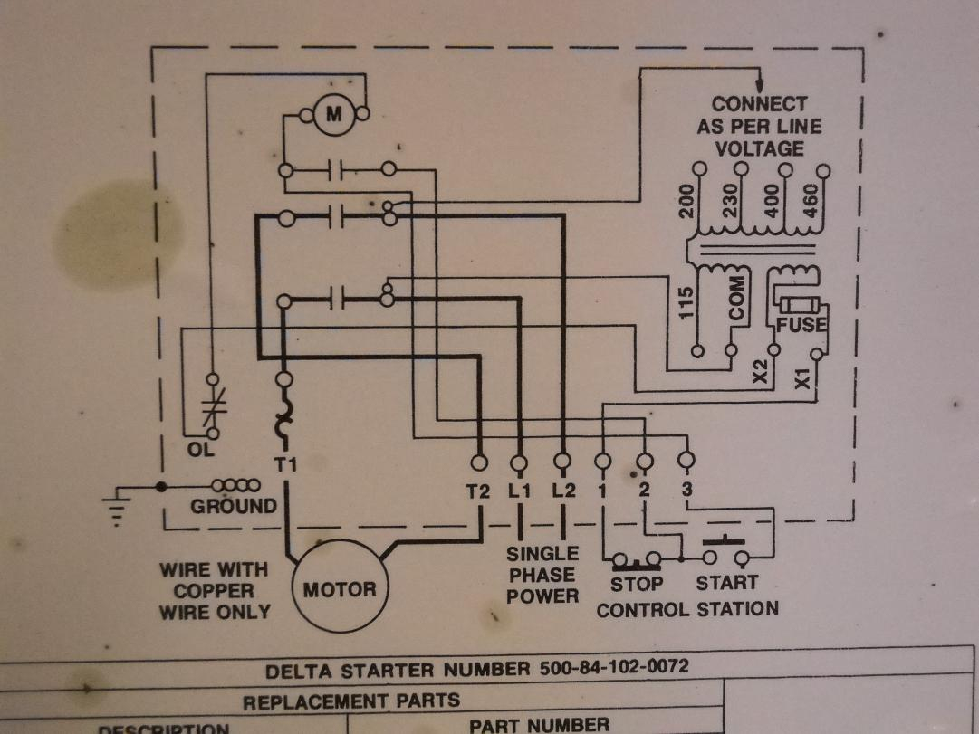 """How To Hook Up Power To A Delta 14"""" Radial Saw Magnetic Starter Box - Starter Wiring Diagram"""