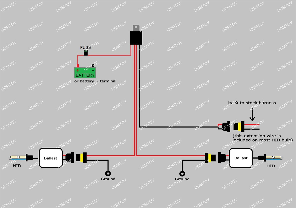 How To Install Hid Conversion Kit Relay Harness Wiring - Hid Wiring Diagram