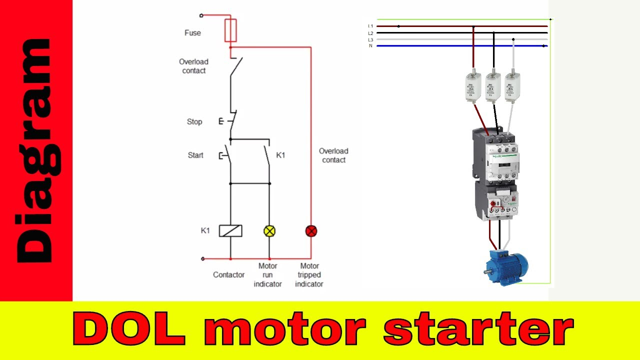 How To Wire A Contactor - Direct On Line Motor Starter Diagram - Starter Motor Wiring Diagram