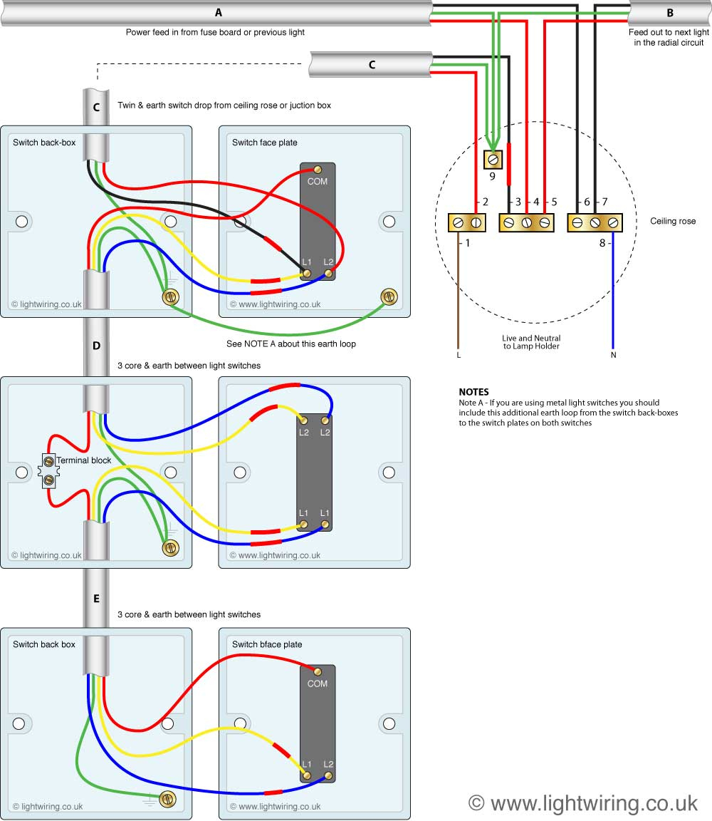 How To Wire A Three Way Switch | Light Wiring - Three Way Switch Wiring Diagram