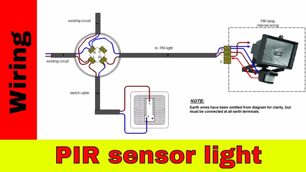 How To Wire Pir Sensor Light. - Youtube - Motion Sensor Light Wiring Diagram
