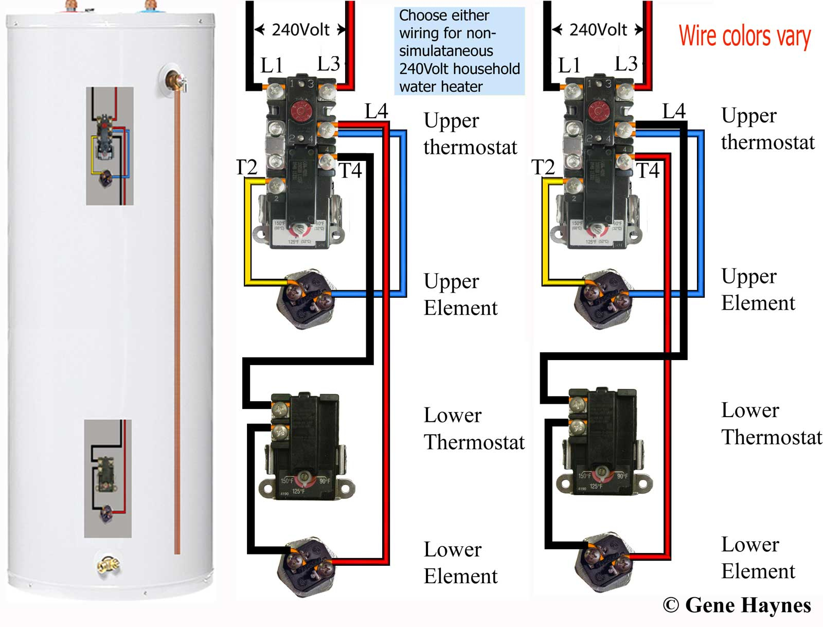 How To Wire Water Heater Thermostats - Electric Water Heater Wiring Diagram