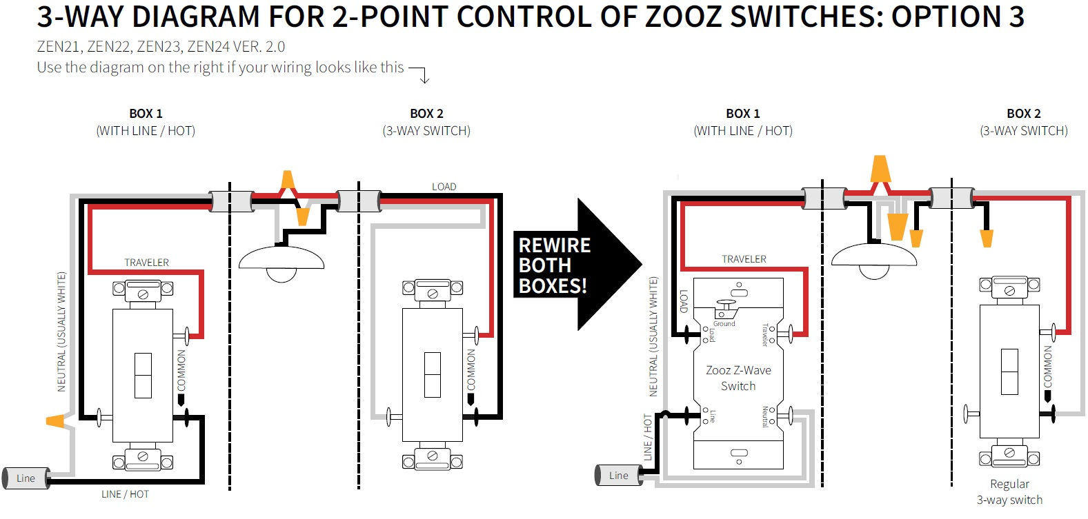 How To Wire Your Zooz Switch In A 3-Way Configuration - Zooz - Wiring Diagram 3 Way Switch