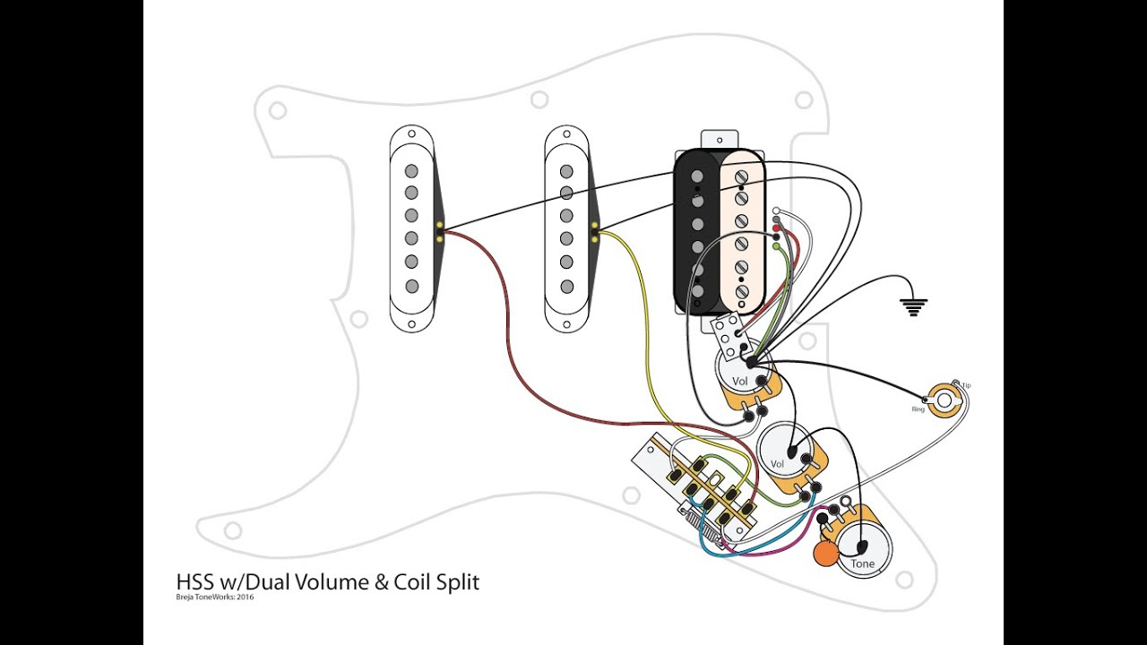 Hss Guitar W/dual Volumes, Master Tone And Coil Split - Youtube - Hss Wiring Diagram