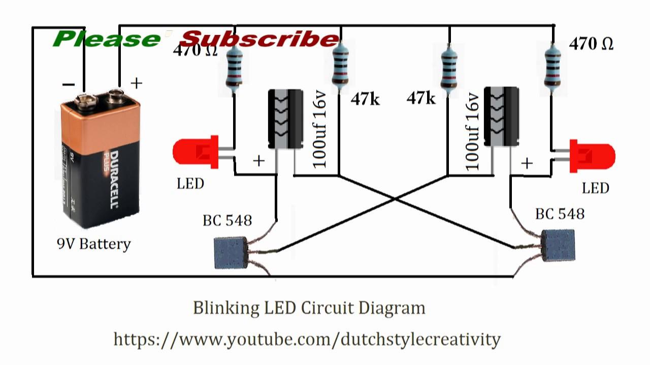 Learn How To Make Blinking Led Lights Circuit, Blink Led, Flash Led - Led Lighting Wiring Diagram