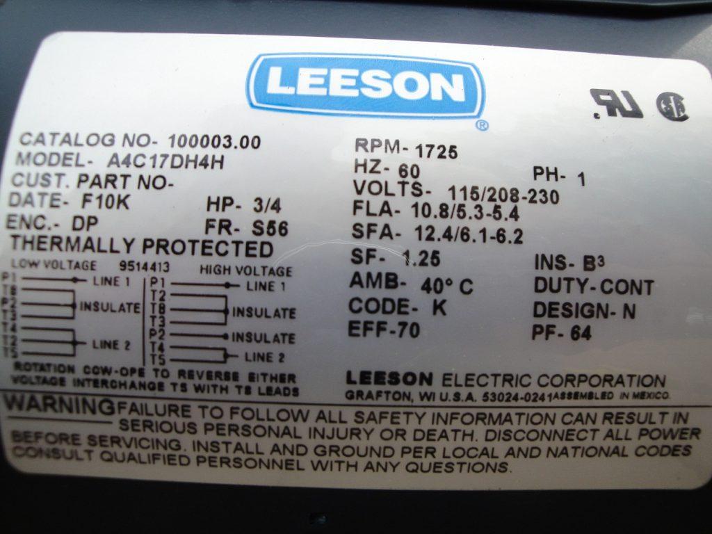 Leeson Motors Wiring Diagram
