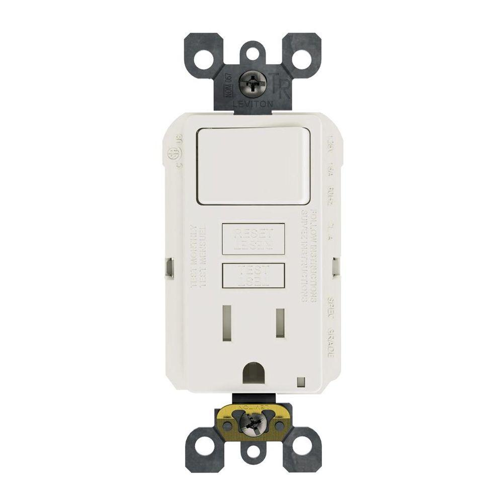Leviton 15 Amp 125-Volt Combo Self-Test Tamper-Resistant Gfci Outlet - Leviton Switch Outlet Combination Wiring Diagram