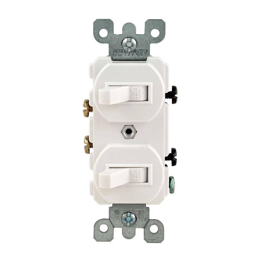 Leviton 15 Amp Combination Double Switch, White-R62-05224-2Ws - The - Dual Light Switch Wiring Diagram