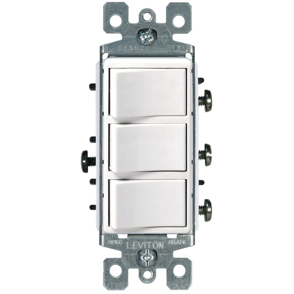 Leviton Decora 15 Amp 3-Rocker Combination Switch, White-R62-01755 - Toggle Switch Wiring Diagram