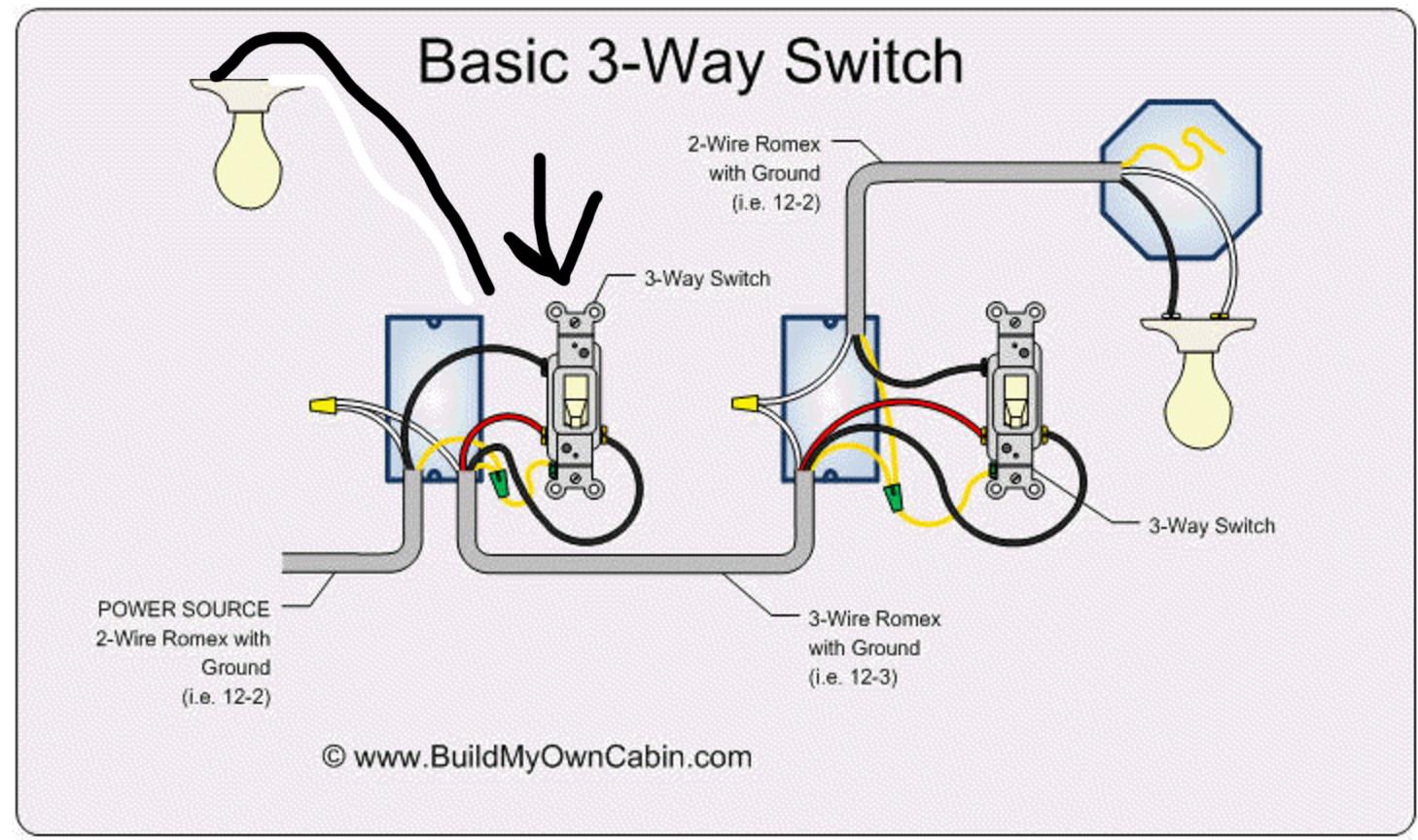 Lighting - Wiring Additional Light To A 3-Way Switch (Switch > Light - 3 Way Switch Wiring Diagram Power At Light