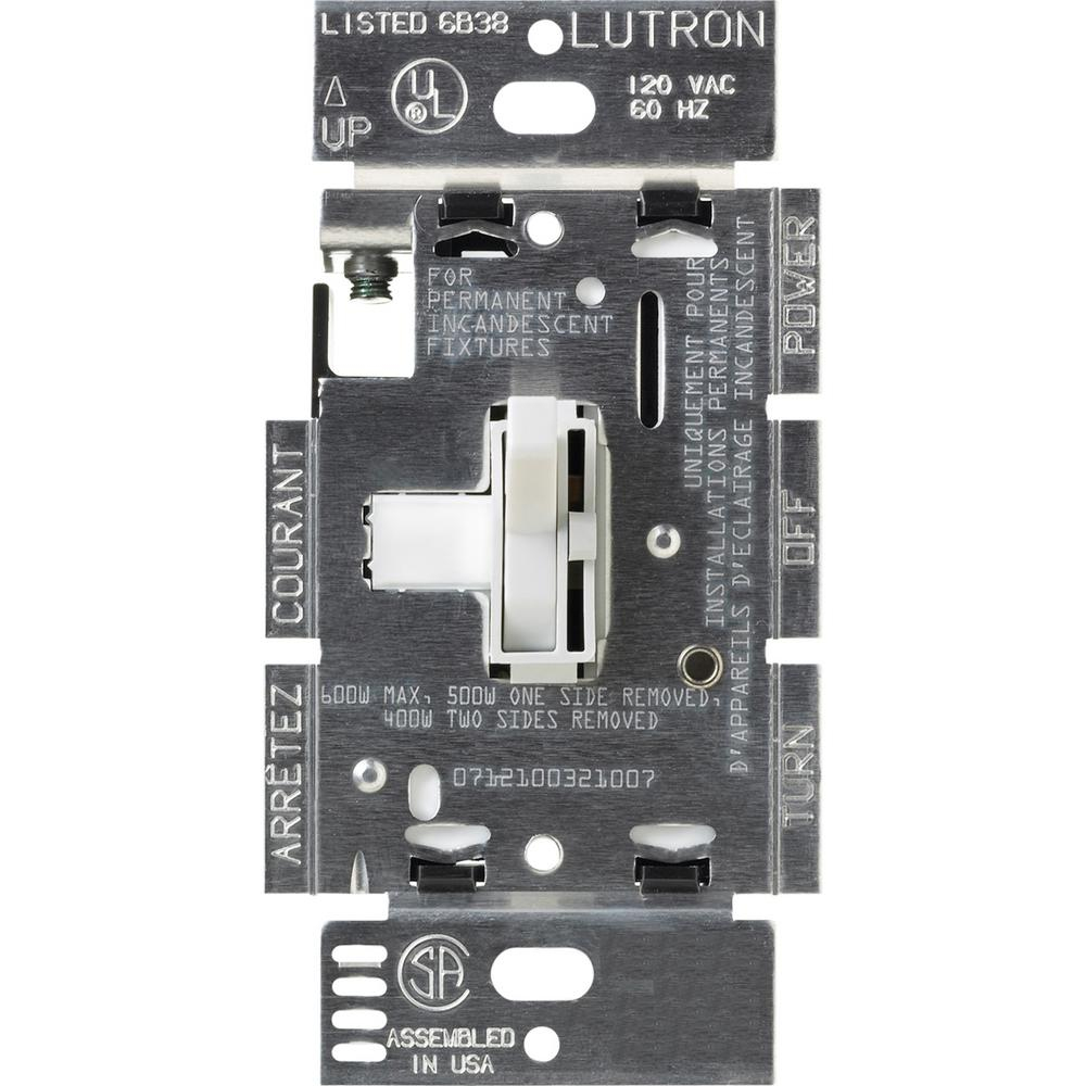 Lutron Toggler 600-Watt Single-Pole/3-Way Eco-Dimmer - White-Tg - Lutron Dimmer Wiring Diagram