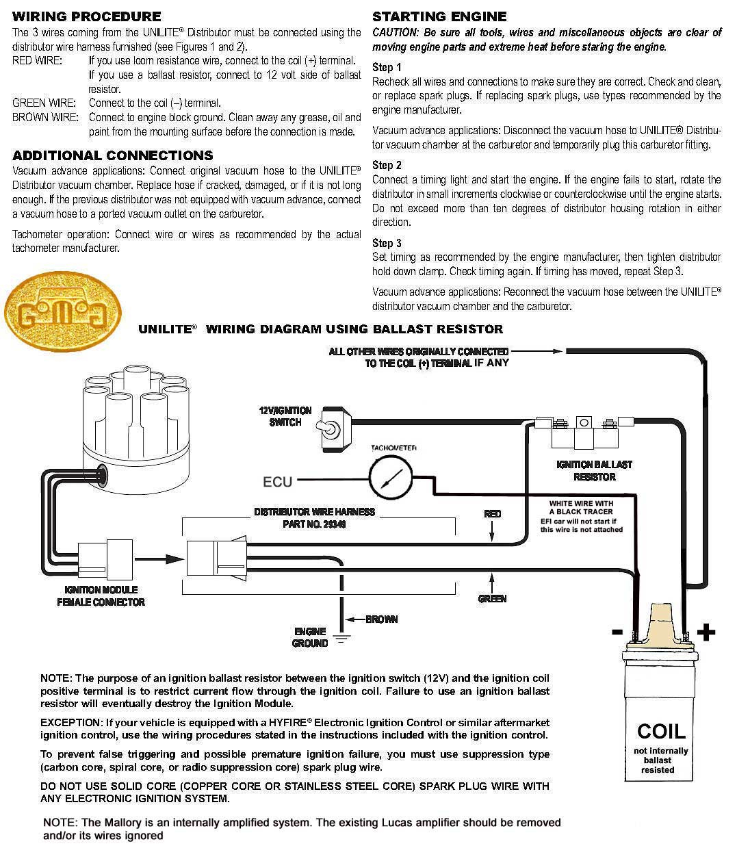 Mallory Magnetic Breakerless Distributor Wiring Diagram